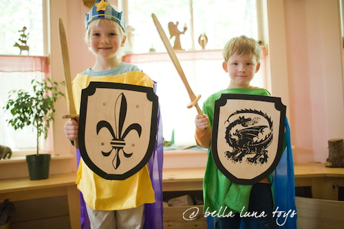 Waldorf Toys - wooden swords and shields