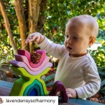 Repost lavenderraysofharmony  Harmony playing with her Grimms wooden stackinghellip