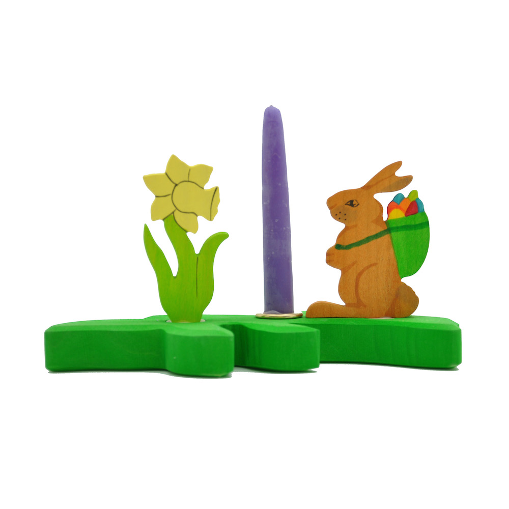 Wooden Candle Holder Easter Decoration from Germany