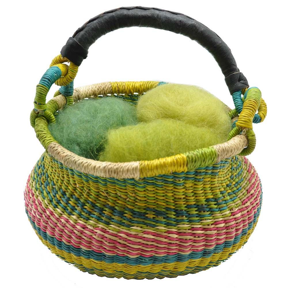 Easter Bolga Basket with Organic Wool Felt Grass