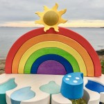 A bright Wooden Rainbow Shape Sorter on a cloudy dayhellip